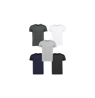 Men's 5 Pack Crew Neck Slim Fit T-shirt By Boohooman Size L NWT $ 56.00
