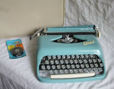 Vintage Mid Century Modern Blue Consul Manual Type Writer