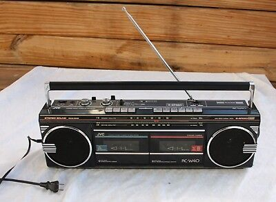 Vintage JVC RC-W40 Dual Cassette Stereo Boombox Recorder