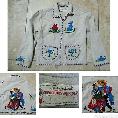 VTG Child's Mexican GRAY WOOL SOUVENIR JACKET Embroidered Felt Appliques Sz 4