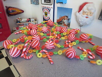 Vintage Plastic Blow Mold Christmas Tree Garland Lifesavers Candy Canes Bulbs
