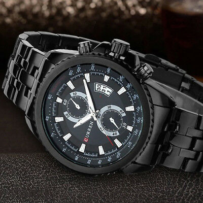 CURREN Men's Quartz Stainless Steel Date Display Waterproof Luxury Wrist Watch