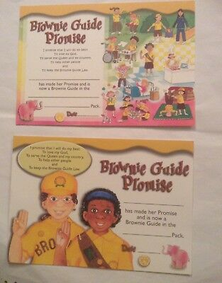 Brownie Guide Promise Certificates (2 Different, both Old Promise.) New. Unused.
