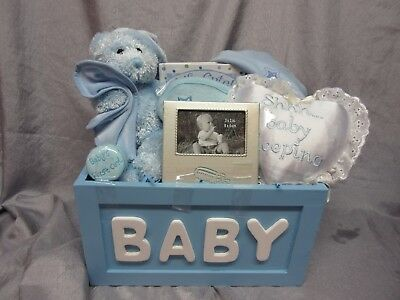 Baby Boy Blue Gift Basket - Teddy Bear,photo Frame, Heart Door Pillow, Cap - New