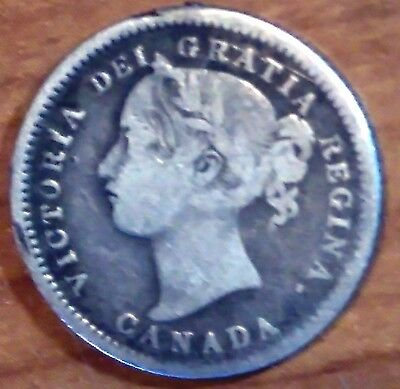 Rare  Canada 1871 H 10 Cent Sterling Silver Coin - Toned - Queen Victoria