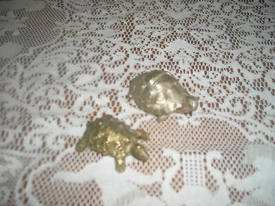 2 shiny small turtle figurines - pewter tone & bronze tones