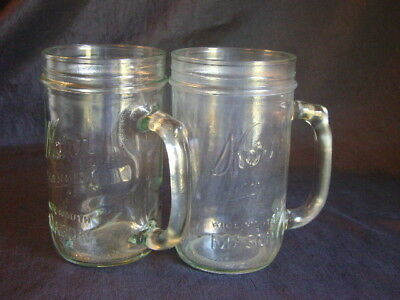 "Kerr Canning Fruit Jar 16 Ounce Glass Mug ""D"" Handle Lot of 2"