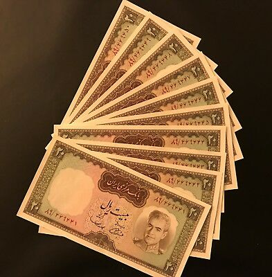 10 Consecutive serial numbers P84 Shah Pahlavi 20 Rials 1969 Banknotes ALL UNC