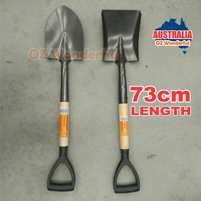 73cm Shovel Camping Outdoor Garden Pointed Spade Wood Stick Holding Handle