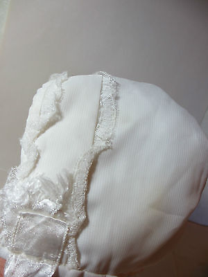 Vintage Christening Bonnet White Hat Fully Lined Small Lace Detail