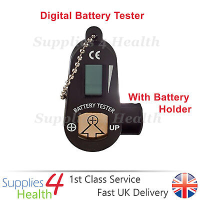 BLACK Digital Hearing Aid Battery Tester With LCD Display & Spare Battery Holder