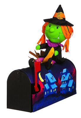 Evergreen Witch on Broom 3-Dimensional Character Magnetic Mailbox Cover