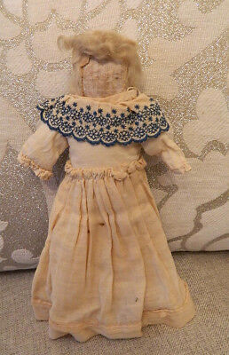 """Unusual 12"""" Antique Cloth Girl Rag Doll from the 1800's with Pretty Dress"""