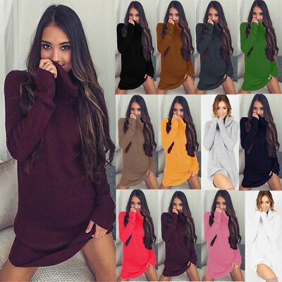 UK Womens Knitted Sweater Tops Long Sleeve Polo Roll Neck Chunky Jumper Dress