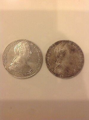 Lot Of Two  1780 Austria Maria Theresa Restrike Silver Thaler Coins