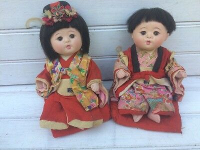 Antique Vintage Japanese Boy Girl Doll Pair 1950's