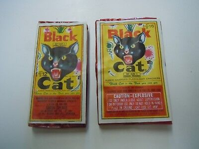2-Vintage Black Cat Firecracker Labels--Labels ONLY-NO FIRECRACKERS