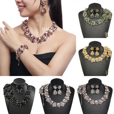 Holylove Crystal Rhinestone Statement Necklace Bracelet Earrings Jewelry Set New