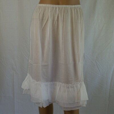 Frilled COTTON HALF SLIP Size 18 White NEW Womens Petticoat Skirt