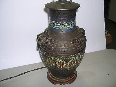 Cloisonne and Brass Antique Asian Table Lamp