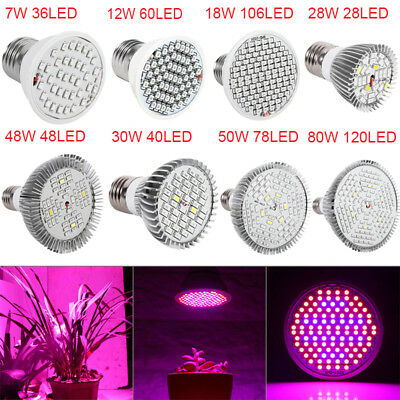 HOT! E27 LED 7/12/18/28/30/48/50/80W Plants Grow Light For Hydroponic Greenhouse