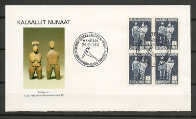 "GREENLAND -1980 FDC ""Driftwood figures"" 8 kr in Block of 4 -Cz Slania -Facit 119"