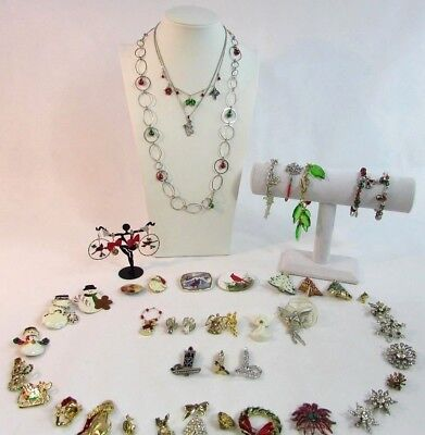 Christmas jewelry. Large lot of Christmas jewelry. Preowned vintage to modern