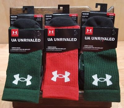 Under Armour Youth Large Unrivaled Crew Socks LOT of 3 pairs total NWT $42 value