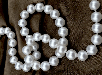 """White South Sea Pearl Necklace 18"""" 8-9mm - AAAAA Quality"""