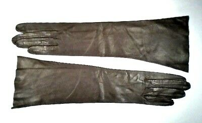 Vintage Gray Kid Leather Fashion Gloves ~ Size 6 1/2 ~ Made In France