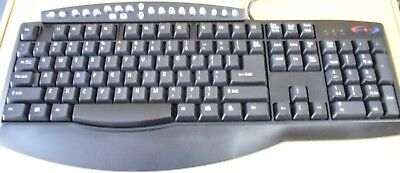 New PS2 Super-Hero Streamline Multimedia Keyboard Palm Rest Black Model 2028