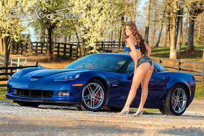 Hot Babe with C6 Corvette Z06 Lemans Blue LS7 Fast And Sexy Poster