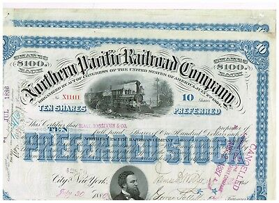 Set 3 Northern Pacific Railroad Co., 1880s, Preferred Stock, 10 shares, blue