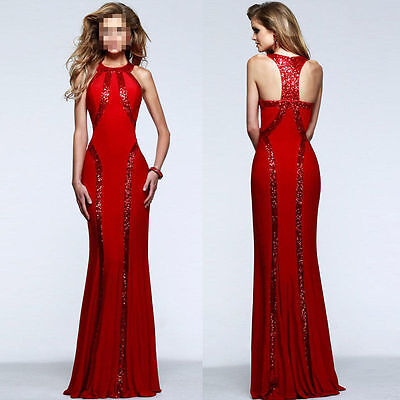 Wedding Bridesmaid Sequin Trim Red Jersey Patchwork Gown Evening Dress L XL New