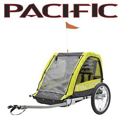Pacific Double Kids Bike Trailer Carry 1 or 2 Children PTD