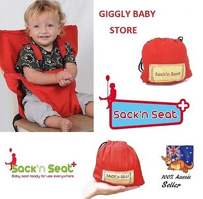 Baby Kids SACK 'N 'SEAT Portable High Chair With Safety Harness + FREE GIFT