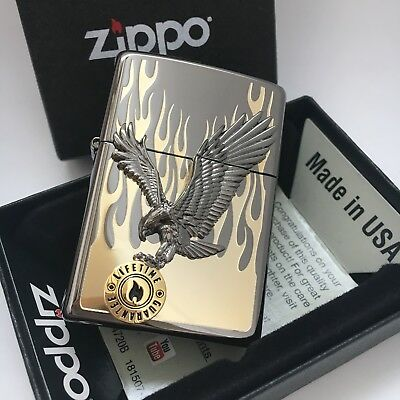 Original Zippo lighter In to the Flame Gold Satin Windproof 6Genuine Flints Gift