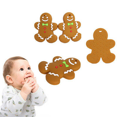 Baby Best Gingerbread Man Food Grade Silicone Teether Pacifier Teething Toy