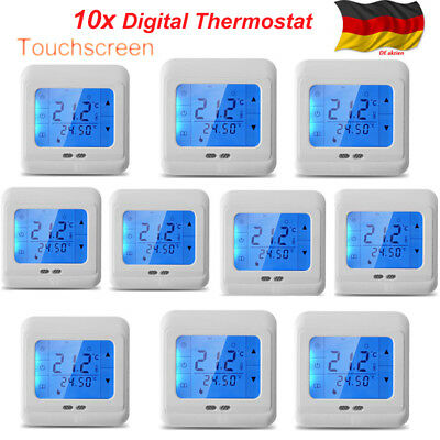 digital lcd fu bodenheizung raumtemperaturregler thermostat programmierbar neu eur 25 50. Black Bedroom Furniture Sets. Home Design Ideas