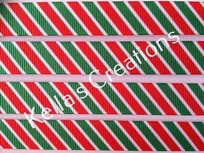 Christmas Stripes Ribbon 15mm  Sold by 2 M - Craft - Gift - Hair Bows