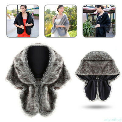 New High-grade Elegant Bridal Wedding Faux Fur Long Shawl Stole Wrap Shrug Scarf