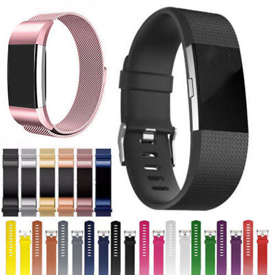 Stainless Steel Milanese Loop / Silicone Rubber Band Strap For Fitbit Charge 2