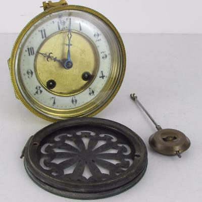 ANTIQUE H.A.C. MANTEL CLOCK MOVEMENT pendulum backdoor TWO PART DIAL working