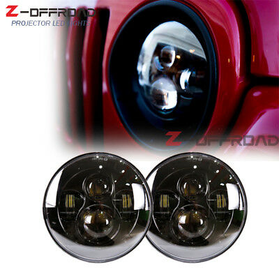 "7"" Round Projector Headlamp LED Headlights for Jeep Wrangler Land Rover Defender"