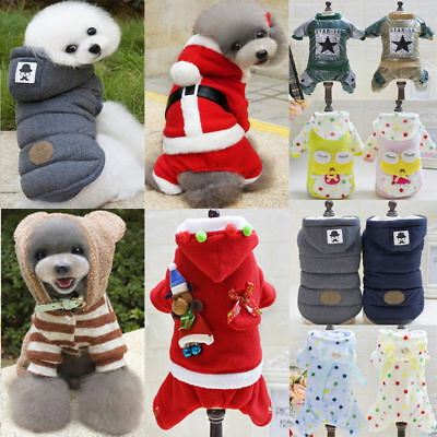 Fashion Warm Winter Hoodie Jumpsuit Coat Clothes Dress Costume For Pet Dog Puppy