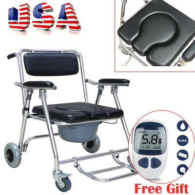 USA Mobile Commode Chair with 4 brakes,Lock Wheels Footrests Wheelchair Toilet