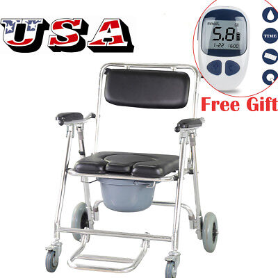 3in1 Mobile Commode Chair w/4brakes,Wheels&Footrests Wheelchair Toilet Shower CE
