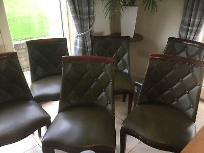 Contemporary Dining Chairs Wing back Studded Chesterfield Leather