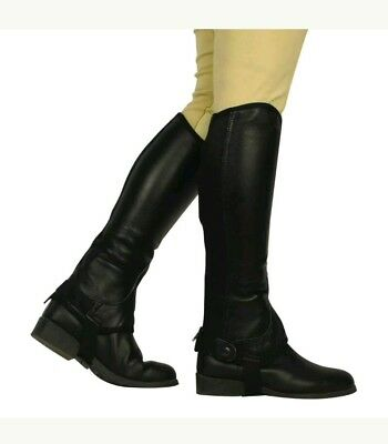 2S,2   Adults Saxon Equi Leather Gaiters Horse Riding Half Chaps Large Tall