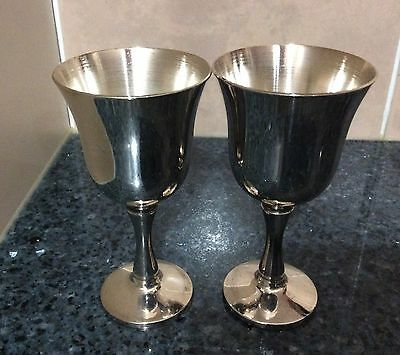 Silver Plate Set of 2 Shot Glasses/Goblets Made in Portugal